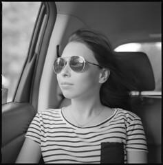 Kayla, Going for a Ride (summit-photo) Tags: hasselblad 500cm planar 80mm ilford hp5 film hc110 bnw blackandwhite monochrome