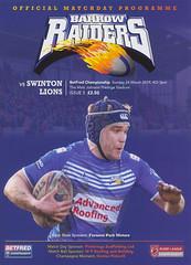 Craven Herald (Feversham Media) Tags: barrowraidersrlfc swintonlionsrlfc rugbyleagueprogrammes rugbyleague cumbria cravenpark barrow barrowinfurness betfredchampionship