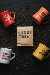 four assorted-color cups - Credit to https://myfriendscoffee.com/ (John Beans) Tags: coffee cup mug coffeebean cafe coffeebeans shopbeans espresso coffeecup drink