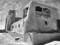 Ácoma Pueblo, Mission Church San Esteban. Painterly grisaille. (Richard Denney) Tags: mission church spanish newmexico pueblo nativeamerican blackandwhite grisaille painterly artistic history