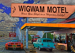 Have You Slept in a Wigwam Lately? (oybay©) Tags: wigwammotel holbrook arizona wigwam motel indian motif unusual car teepee bugatti automobile masterpiece ford stationwagon supercar sign color colors colorful photoshop nokidding sky clouds surreal nativeamerican wrongway