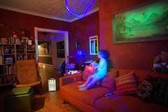(patrickjoust) Tags: sony a7 voigtlander colorskopar 21mm f4 manual focus lens digital patrick joust patrickjoust baltimore maryland md usa us united states north america estados unidos home domestic llewelyn kid boy child blur light painting red blue green couch living room playing eye chart