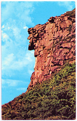 Franconia Notch, N.H. - Old Man of the Mountains. And What Happened to Him. (pepandtim) Tags: postcard old early nostalgia nostalgic franconia notch new hampshire nh man mountain mountains plastichrome series colourpicture boston mass massachusetts usa state recreation division ice age indians profile great spirit 1805 lake 45fra32 pass white mount lafayette parkway 2003 stone face granite cliff edges glaciers francis whitcomb luke brooks daniel webster nathaniel hawthorne 1850 1945 license plate route signs forehead 1957 cement 03052003 steel profilers