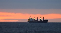Lauritzen Bulk Carrier - Sunrise Off Whitley Bay Coast (Gilli8888) Tags: whitleybay coast coastal coastline northsea northeast nikon p900 coolpix sky clouds sea water marine lauritzen bulk cargo ship vessel dawn sunrise