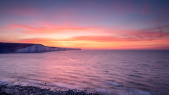 Seven Sisters (Merrik76) Tags: sevensisters eastsussex chalk seaford cliffs winter seascape sea waves rocks beach sunrise dawn orange red blue clouds englishchannel fuji xt3 16mm