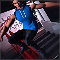 Xhan sporting a rail riding experience.... (fashioniva) Tags: mancave event joggers hoodie alec casual backpack railing back alley rebeccas vale koer dura belleza letluka