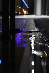 Puddle Poetry (Coquine!) Tags: christianleyk bremerhaven germany deutschland night nacht reflections spiegelungen blue blau light licht pavement kopfsteinpflaster puddles pfütze