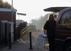 Hungerford UK  |  2019 (keithwilde152) Tags: br gwr dmu 165111 hungerford berkshants uk 2019 station town passenger train people outdoor winter sun coffee van