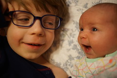 (patrickjoust) Tags: sony a7 digital camera manual focus lens domestic home kid child patrick joust patrickjoust baltimore maryland md usa us united states north america estados unidos geneva llewelyn brother sister boy girl baby bed glasses smile