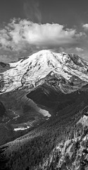 Valley Under Rainier B&W (s.d.sea) Tags: mount mt rainier mountain mountains cascades volcano fall autumn hiking hike trail vista view sunrise sunny sun valley ridge glacier mrnp national park washington washingtonstate wa pnw pacificnorthwest pentax k5iis 2470mm pano panorama monochrome monochromatic blackandwhite blackwhite