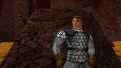 Beware the Basilisk (Platemail) (BarricadeCaptures) Tags: kingsquest kingsquestmaskofeternity maskofeternity thebarrenregion barrenregion connorofdaventry connor chainmail platemail basilisk rock gamescreenshots gamephotography videogame screencapture screenshot