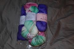 Mason Creations Fingerweight in Purpley, and Wisterian Tunnel Colorwayos (camelliagrower) Tags: yarn masonscreations mason april hamann
