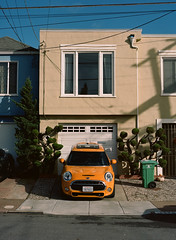 Sunset District // San Francisco (bior) Tags: pentax645nii pentax645 pentax 645 mediumformat 120 sanfrancisco sunsetdistrict portra160nc expiredfilm kodakportra bush frontyard house minicooper driveway
