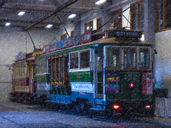The Tramways Shed (Steve Taylor (Photography)) Tags: citytour christchurch tramways architecture digitalart light window newzealand nz southisland canterbury cbd city texture vehicle tram
