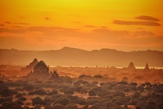 Bagan temples at sunset (ValterB) Tags: valterb valter view temple shadow sky scenic sun sunlight sunset bagan burma myanmar yellow orange red nikond90 nikkor clouds river mountain trees