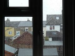 Today's Rain (cycle.nut66) Tags: rain window rainy day england winter water droplets houses terrace sheds panasonic lumix fz8 leica elamarit