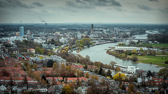 Arnhem from above on a cloudy day (Dannis van der Heiden) Tags: arnhem city scape nederrijn river boat building cityscape windmill bridge netherlands sky clouds tree d750