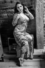 Radio fan (piotr_szymanek) Tags: anita anitab woman young studio portrait blackandwhite dress nobra face longhair radio brick wall legs feet 1k 20f 50f 100f 5k 10k 200f 20k