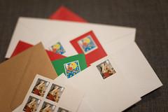 Day 296 / Y7. (evilibby) Tags: post cards christmascards envelopes stamps stampedenvelopes postagestamps christmasstamps christmaspostagestamps project365