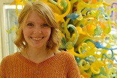 With hair matching Chihuly (radargeek) Tags: okcmoa okc oklahomacity 2019 january downtown chihuly art smile portrait