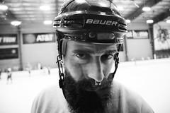 Wally (Zack Huggins) Tags: canoneos30d canonefs1755mmf28isusm vscofilm pack06 dallastx planotx drpepperstarcenter hockey hockeyplayer portrait wideangle bokeh dof handheld beard septum goon goofin rink bw mono monochrome glower glare scowl intimidate