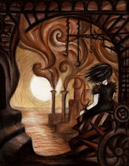 Unanswered Questions (Skyler Brown Art) Tags: angst architecture art artwork coloredpencil dark darkness depressing drawing emotional female girl gothic ocean paper people sad smoke steampunk sun water woman usa
