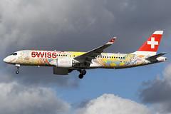SWISS INTERNATIONAL AIRLINES HB-JCA (FETE DES VIGNERONS 2019 LIVERY) A220-300 EGLL 19/02/2019 (SimonBaker185) Tags: