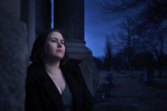 The Archaic Unknown (CynicismAndSugar) Tags: cemetery graveyard lowkey bluehour cinematic wife sigma 24105 sigmaart mausoleum dusk moonlight headstone headstones grave graves melancholy prayer calm serene tranquil reflective beautiful woman girl female blue