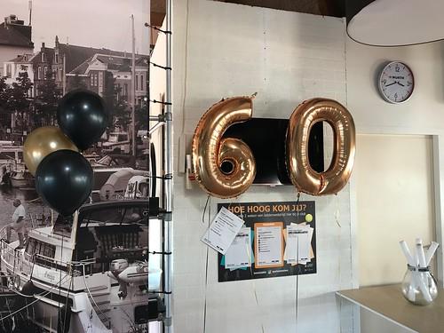 Folieballon Cijfer 60 Tennisvereniging TVO Oud Beijerland