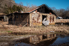 Old Stone Store - Sequatchie Valley. (Mr. Pick) Tags: fence friday stone rock building abandoned burned charred reflection sequatchie valley tennessee tn store rural