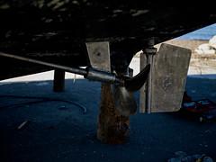 Underside of boat (Jonathon Bennett Photos) Tags: propeller boat sea harbour work paintwork paimscrape paintscrape rudder metal tar captureone