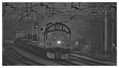 Six Charlie Thirty Seven (Trev 'Big T' Hurley) Tags: 37219 37175 37 colas class37 tractors 6c37 westcoastmainline trentvalley topandtailed tnt engineers parr salmon mono blackandwhite misty foggy wintery rugeleytrentvalley