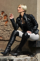 Tabea 36 (The Booted Cat) Tags: sexy blonde hair model girl smoking cigarette leather jacket boots overkneeboots