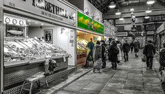 This is obviously where the best buy is (Paul Thackray) Tags: yorkshire westyorkshire leeds kirkgatemarket fishrow selectivecolours 2019