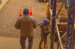 Man walking between the bull horns. Hombre caminando entre los cuernos del toro. (Capitancapitan) Tags: men working bull horns colors pentax bronx nyc manhattan new york street photography profesional neury luciano composition best photos