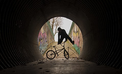 Jump In The Shadow (Joe Catrin) Tags: sport bmx bmxflat bmxlife bmxflatland flat flatland freestyle tunnel ombre black shadow shadows athlete bike bridge bikelife circle circles light lighting tag graph street streetart streetstyle winter photo photography picture picoftheday architecture action inaction eye effect underground instant france jump life extreme city ville nikon urban
