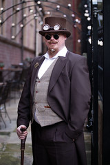 Portrait from the Whitby Steampunk Weekend V - Ohh La La (Gordon.A) Tags: yorkshire whitby steampunk whitbysteampunkweekend v wsw february 2019 convivial festival event eventphotography culture subculture lifestyle creative costume hat goggles people man face model pose posed posing outdoor outdoors outside wall lights depthoffield dof day daylight naturallight colour colours color amateur street portrait portraitphotography digital canon eos 750d sigma sigma50100mmf18dc