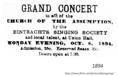"""1894 Concert for the benefit of the  Church of the Assumption (the """"French"""" Church)  on Hamilton St. after a fire by the Eintracht Singing Socity (mostly German) at the Catholic Union Hall on Eagle  (formerly an arsenal) (albany group archive) Tags: 1890s old albany ny vintage photos picture photo photograph history historic historical"""