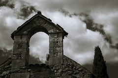 Le Clocher sans cloche .... (CTfoto2013) Tags: clocher steeple quinson france paca provence alpesdehauteprovence nuages clouds ambiance mood light lumiere lumix panasonic summer ete pierres stones cypres orage storm