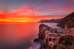 Cinque Terre sunset (Michał.Włodarczyk) Tags: select vernazza italy sea town village sky rocks liguria light clouds