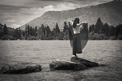 IMG_2828 (iamChristo) Tags: new zealand nz queenstown lake girl mountain trees rock canon 550d eos nature t2i landscape wakatipu