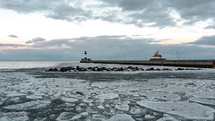 Canal Park (Lzzy Anderson) Tags: canalpark duluth canalparkduluth march spring 2019 minnesota lakesuperior lighthouse sunset clouds ice