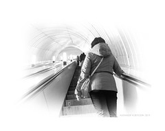 Metro (II) (Alexandr Voievodin) Tags: metro girl woman escalator lanterns lamps olympusomdem10markii
