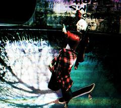 SΚΛTΣ PΛЯΚ (☺ ChimKami ☺ Rushing In Slow Motion !) Tags: chimkami chim metaverse 3d sl secondlife photography cute art photoshop artwork portrait digitalart light avatar virtual mesh emotion shadow feeling dream red skateboard skate park graffiti tag plaid urban street contemporary freedom ride streetart