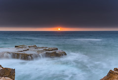 Sunrise Seascape with Cascades (Merrillie) Tags: daybreak sunrise northavoca nature water nsw centralcoast overcast rocky sea newsouthwales waves earlymorning morning rocks landscape ocean cloudy waterscape avocabeach coastal dawn outdoors seascape australia coast northavocabeach sky