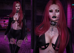 Guess who's back in the house! (Ginger Krokus) Tags: secondlife sl goth gothic witch vampire moonelixir sintiklia lelutka mesh deetalez addams queenofink pinkfuel virtual blog fashion latex leather style look