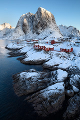 Hamnøy Classic (Hilton Chen) Tags: hamnøy lofoten moskenes norway cabins fishing houses ice landscape red rocks snow sunrise village winter
