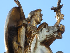 2019 Victory Statue USS Maine Monument - Gold Leaf Gilded 2292 (Brechtbug) Tags: uss maine monument 1913 beaux arts commemorate controversial sinking battleship 1898 the ship has sculpted representations mythological figures victory peace courage fortitude justice central park entrance nyc 02192019 new york city arms wrapping around rock statue sculpture february 2019 columbus circle
