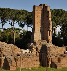 Stabilized ancient ruin - Imperial villa remnant - Palatine Hill, Rome. (edk7) Tags: nikond50 edk7 2007 italy italia lazio latium cittàmetropolitanadiromacapitale rome roma monspalatinus palatinehill palatino stabilizedruin ruins imperialvillafragment archaeology roman ancient art architecture building oldstructure engineering abandoned relic remnant opuslatericium opuscaementicium italianstonepinepinuspinea park city urban marble fence grass sky