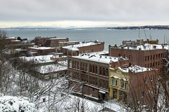 5IMG3825 Snowy rooftops (Glenn Gilbert) Tags: weather snow roof rooftop porttownsend washington pacificnorthwest pugetsound cascades cascademountains mountain landscape cityscape victorian architecture urban